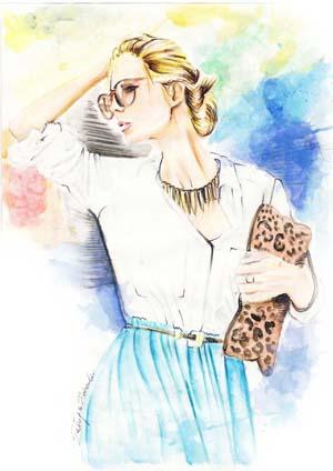 illustrazione fashion realizzata da Patrizia Rebecchi con tecnica ad acquarello