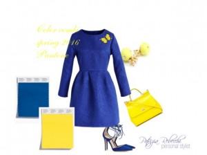 immagine con abito e accessori in abbinamento colori primavera estate 2016