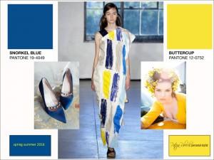 combinazione palette colori primavera estate 2016: blu + giallo